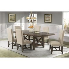 Picket House Francis 7 Piece Upholstered Dining Table Set | from hayneedle.com