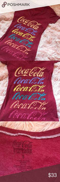 Coca Cola Vintage Shirt This is a Coca Cola Vintage Multi Colored lettering shirt in size small. Such a trendy shirt. Very comfortable and oh so cute!! If you've missed my last few Coca Cola items, this one is for you! Coca Cola Tops Tees - Short Sleeve