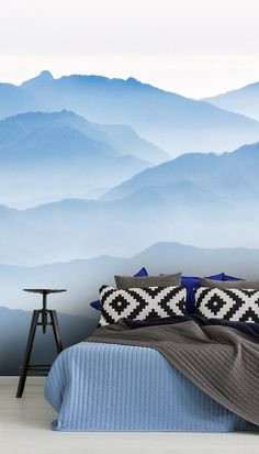 Feel calm and serene with this made to measure Misty Blue Mountains wallpaper in your home.Adorn your wall with this almost abstract Misty Blue Mountains wallpaper. This gorgeous early morning mountain-scape is an absolute treat for the eyes. It's both soothing and invigorating, making it perfect for your bedroom.nd more home inspiration from Wallsauce. We have a large collection and a free delivery service! Click to find out more! #wallpaper #wallmural Fall Home Decor, Autumn Home, Unique Home Decor, Cheap Home Decor, Hallway Decorating, Decorating Small Spaces, Entryway Decor, Mountain Wallpaper, Cheap Houses