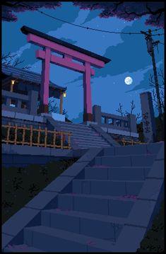 Japanese Shrine by LennSan Japanese Shrine, Japanese Art, Aesthetic Art, Aesthetic Anime, Pixel Art Background, Background Patterns, Arte 8 Bits, Cool Pixel Art, 8 Bit Art