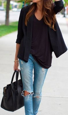 Street style in black shirt, blazer with denim jeans