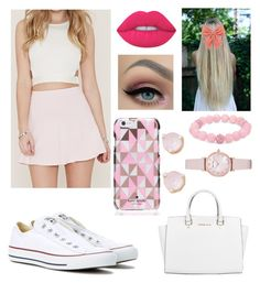 """Pink!"" by brookebeckham on Polyvore featuring Forever 21, Converse, Michael Kors, Lime Crime, Decree, Palm Beach Jewelry, Emporio Armani and Kate Spade"