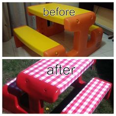 Carolines crafty corner redone plastic table and chairs for the my little tikes picnic table redo watchthetrailerfo