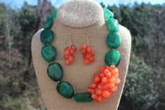 Peach Roots - Green and Coral Beach Necklace, $30.00 (http://peachroots.com/green-and-coral-beach-necklace/)
