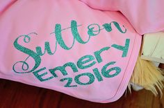 Personalized pink and aqua newborn blanket, personalized knit baby girl name…