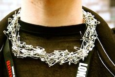 """This dude won a """"best accessory"""" award for his safety pin necklace. #jewelry"""