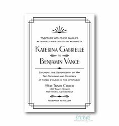 Art Deco Wedding Invitation - Bridal Shower Birthday Party. White background in brown gold or black