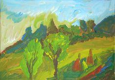 Autumn landscape with hay - Tetyana Snezhyk painting