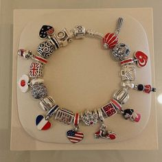 Design your own photo charms compatible with your pandora bracelets. Flag separated by point of interest. Pandora Travel Charms, Pandora Shop, Pandora Jewelry Box, Pandora Beads, Pandora Bracelet Charms, Pandora Rings, Charm Jewelry, Pandora Collection, Bracelet Designs