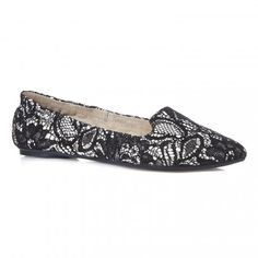 Butterfly Twists Natalie Black Nude Lace Ballet Pumps