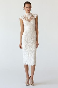short lace wedding dress with cap sleeves