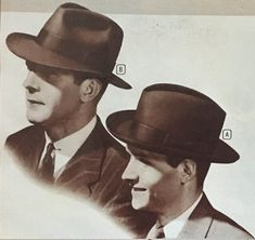 mens hats came in several common styles such as the fedora, trilby, straw hat, homburg and porkpie. Learn about and buy style vintage men's hats 1940s Mens Fashion, Mens Fashion Casual Shoes, Mens Fashion Suits, Vintage Fashion, Fashion Hats, Fashion Rings, Homburg, 1920s Mens Hats, Funny Art
