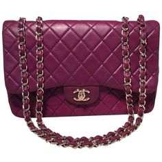 Chanel Purple Leather Jumbo Classic Flap Shoulder Bag ($5,790) ❤ liked on Polyvore featuring bags, handbags, shoulder bags, quilted leather purse, genuine leather handbags, chanel handbags, leather purses and chanel purse