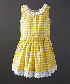 Look at this #zulilyfind! Lemon Gingham Sleeveless Dress - Infant, Toddler & Girls by Powell Craft #zulilyfinds