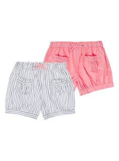 Bolster her casual collection with these woven shorts. In a plain and striped design, these shorts are detailed with an elasticated waistband, pretty bow detail and patch pockets.   Girls multicoloured woven shorts Pack of 2 Elasticated waist Bow detail Patch pockets Cuffed legs Keep away from fire