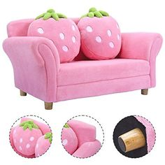 Costzon Kids Sofa Set Children Armrest Chair Lounge Couch W 2 Cushions Pink