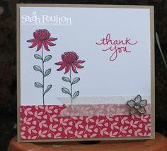 Stampin' Sarah!: A Rose Red Flowering Fields Thank You from Stampin' Up! UK Demonstrator Sarah Poulton