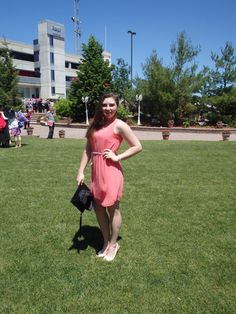 Graduation Day Round 2 for my Bachelor of Education!  Coral dress & cream peep toe sling backs  http://livelife-yourway.weebly.com/fashion/ootd-graduation-day-2014 #graduation #graduationday #grad2014 #BEd #coraldress #summertime