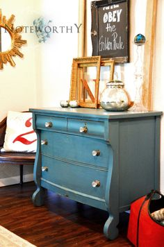 Painted empire dresser or. Best of drawers - distressed glass hardware 41x21x36 $475