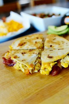 Favorite Recipes: Breakfast Quesadillas *** just did egg, bacon, cheese on maiz tortillas. Will be trying again with all the extras!