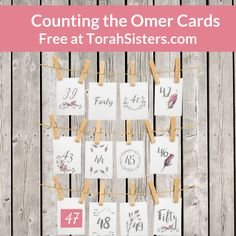 """Download this set of card for counting the omer from the Feast of Unleavened Bread to Shavuot/Pentecost. """"Hebrew roots."""""""
