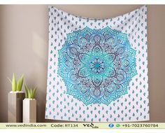 Handmade Green Ombre Mandala Hippy Tapestry Bohemian Floral Bedding Cotton Wall Hanging Throw by VedIndia