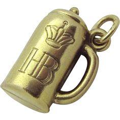 Vintage 8K Gold 3D Hofbrauhaus HB German Beer Stein Charm 333 from charmalier on Ruby Lane..