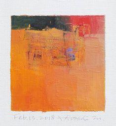 Il s'agit d'une peinture à l'huile abstraite par Hiroshi Matsumoto Titre: 13 février 2018 Taille: 9,0 cm x 9,0 cm (environ 4 x 4) Toile taille: 14,0 cm x 14,0 cm (env. 5,5 x 5,5) Technique: Huile sur toile Année: 2018 Peinture est feutré en écru pour s'adapter à cadre standard