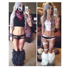 rave outfit inspiration skull bandana crop top leg wraps fluffies edm edc festival fashion pretty rave girl