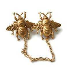 The Bee Keeper - Golden Bee Sweater Guard or Collar Clip Pin Back Style