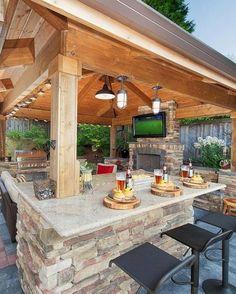 Luxury Outdoor Kitchen Design Ideas That Brings A Cleaner Looks Backyard Pavilion, Backyard Gazebo, Backyard Patio Designs, Backyard Landscaping, Backyard Cabana, Backyard Retreat, Pergola Patio, Landscaping Design, Pergola Kits
