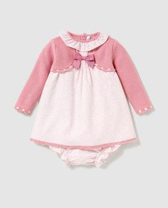 Baby girl dress Sweaters print with jacket Teddy Bear Clothes, Moda Online, Baby Knitting, Baby Dress, Crochet Projects, Knit Crochet, Girls Dresses, Rompers, Color Rosa