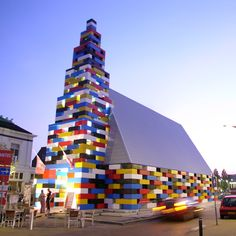 Lego building - Stacking the painted blocks together, LOOS.FM created a fairly sensational temporary pavilion for Enschede's annual GrensWerk Festival - a full-on Lego church, complete with 20-metre spire