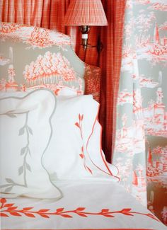 Alexa Hampton. Orange & gray bedroom decor