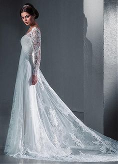 white wedding dress Floor length wedding dress,long sleeve wedding dress,bride dress - New ideas Black Wedding Dresses, Bridal Dresses, Wedding Gowns, Tulle Wedding, Party Wedding, Modest Wedding, Wedding White, Luxury Wedding, Boho Wedding