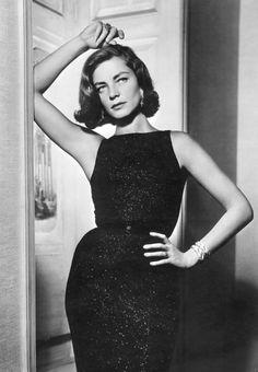 c0d928316f3 Lauren Bacall in a little black dress Lauren Bacall