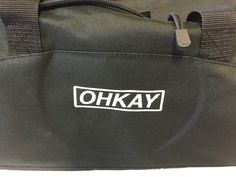 Embroidered logo on duffle bag