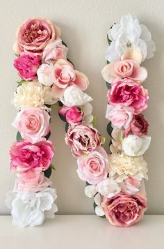 Baby Shower Decor Baby Shower Theme Floral Baby Shower Baby Monogram Monogram Letter Floral Letter Flower Letter Baby Name Reveal Baby Shower Floral, Baby Shower Flowers, Shower Baby, Bridal Shower, Baby Monogram, Monogram Letters, Faux Flowers, Paper Flowers, Baby Name Reveal