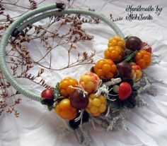 Polymer Clay 'Cloud Berry and Fungi' Necklace by Alek Santa
