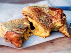 Not your every day grilled cheese - about twice the work of regular grilled cheese, but oh so gooey, err, good.