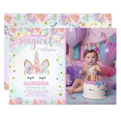 Unicorn Birthday Invitation Magical Unicorn Party Custom #babyshower invitations - Make your special day with these personalized #baby #shower #invitations change the colors font and images and make them your own.