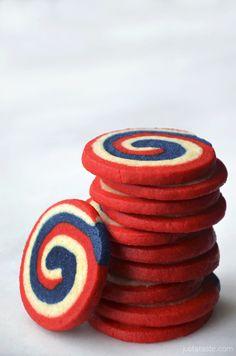 Red, White and Blue Pinwheel Icebox Cookies from Just a Taste @Kelly Teske Goldsworthy Senyei | Just a Taste