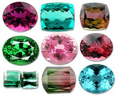 The many colors of Tourmaline! I have a little one like the top left that I'd like set in a ring one day.