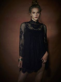 ethereal black lace dress/top