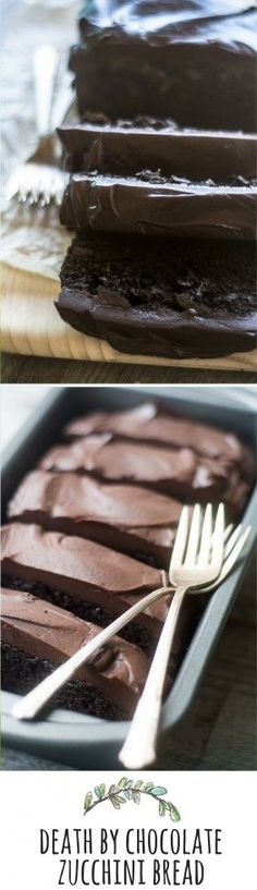 DEATH BY CHOCOLATE ZUCCHINI BREAD ~ a decadent, totally addictive dessert topped with a thick layer of bittersweet ganache ~ theviewfromgreati...