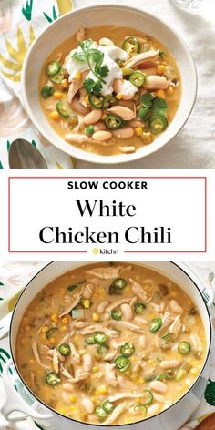 Slow-Cooker White Chicken Chili is the cozy cold weather meal that will brighten any weeknight dinner. The healthy and easy meal includes chicken breasts cannellini beans corn lime and onion. - Slow Cooker - Ideas of Slow Cooker Slow Cooker Chicken Stew, Slow Cooker Chili, Slow Cooker Recipes, Cooking Recipes, Healthy Recipes, Cooking Chili, Crockpot Recipes, Slow Cooking, Chili Food