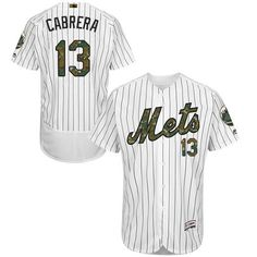 Mets #13 Asdrubal Cabrera White(Blue Strip) Flexbase Authentic Collection Memorial Day Stitched MLB Jersey