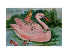 Fantasy Art- Princess Swan Ride- Little girl rides pink swan-spreading flowers in the water