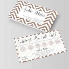 White and Gold Chevron Business card/ Loyalty card, rewards card, stylist, hair stylist, makeup artist, nail artist,spa,salon,nail tech by Opheliafpg on Etsy (null)