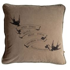 """Ploughshares Pillow by All Souls Mercantile. """"And they shall beat their swords into ploughshares."""" Planting Gardens of Peace. All pillows are 23"""" x 23"""", handcrafted, hand screened, airbrushed, sewn and cut by our artisans. The materials we use are recycled military surplus, circa 1940s-70s. All imperfections and mendings are inherent to these goods and add the unique beauty only authentic wear and tear can achieve. $235"""